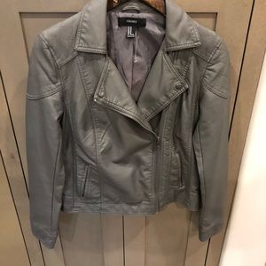Faux leather gray jacket